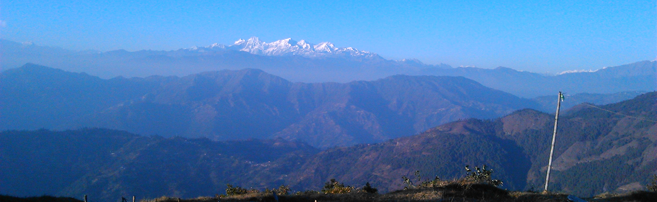 View of the mountains on clear day from Dahachowk Hiking Day Trip in Kathmandu